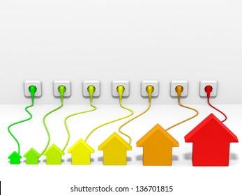 Houses plug to socket. Energy efficiency concept. 3D illustration.