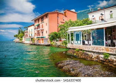 houses in the popular village Malcesine on the lake Garda, Italy