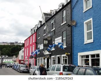 Houses at Quai Street harbor at Portree Scotland Isle of Skye. UK Great Britain. 12th June 2011