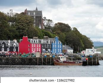 Houses at Quai Street harbour at Portree Scotland Isle of Skye. UK Great Britain. 12th June 2011