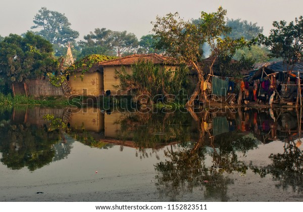 Houses of Raxaul, a poor Indian town in Bihar state, India, circa November 2013. Bihar is one of the poorest states in India. The per capita income is about 300 dollars.