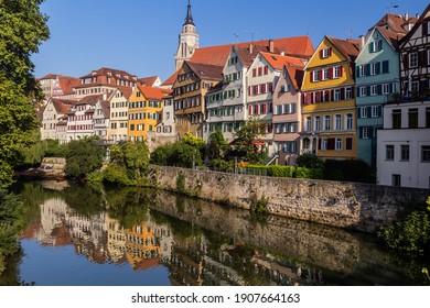 Houses reflecting in Neckar river in Tubingen, Germany