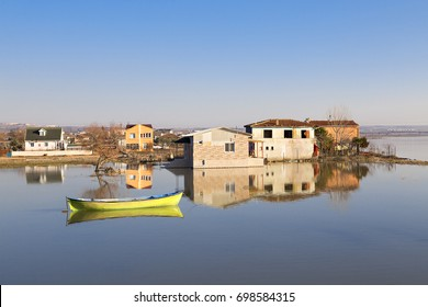 Houses and reflections in the town of Manyas, Bandirma, Turkey.