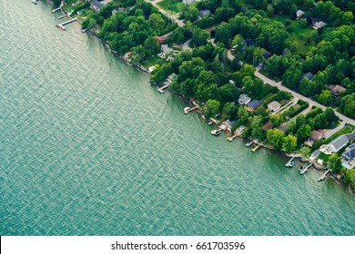 Houses in residential suburbs by the lake, Toronto, Ontario, Canada. aerial picture from ontario canada 2016