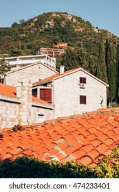 Houses and roofs in Przno, Budva Riviera, Montenegro