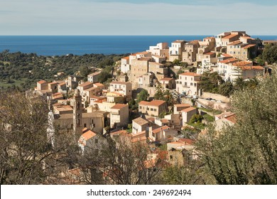 The houses and rooftops of the village of Lumio in the Balagne region of north Corsica