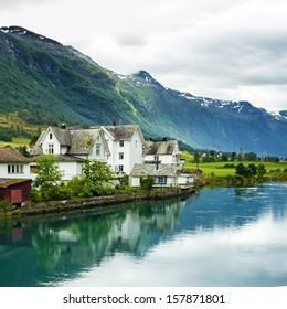 Houses in rural town Olden in Norway