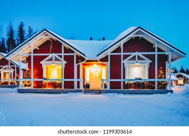 Houses in Santa Claus Holiday Village in Rovaniemi in Lapland in Finland.