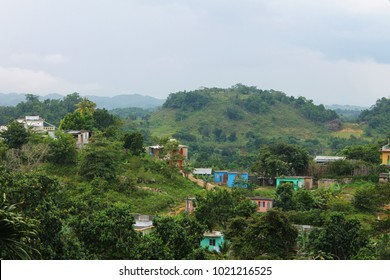 Houses and shacks nestled among the tropical forest, Nine Mile, Jamaica.