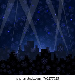 Houses Silhouettes on Winter Night Starry Sky. Snowflakes Background