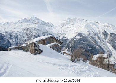 houses in the snowy mountain