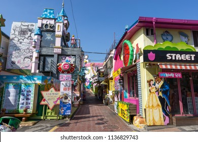 houses and street decorated with fairy tale characters. The street is located in songwol dong in incheon , south korea. Taken in July 18th 2018.