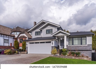 Houses in suburb in the north America. Luxury houses with nice landscape.