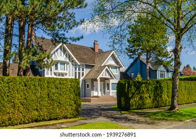 Houses in suburb with Spring Blossom in the north America. Luxury houses with nice white and pink coloured landscape.