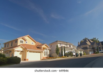 Houses in a suburban neighborhood