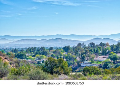 Houses in suburbs of inland California on spring morning