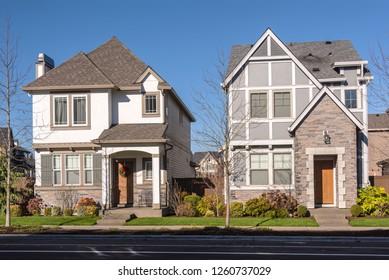 Houses in a surban neighborhood Wilsonville Oregon.