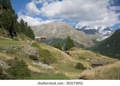 Houses in the swiss Alps, Zermatt