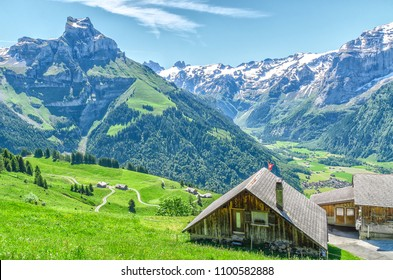 Houses in the Swiss village of the Engelberg resort. Landscape of Swiss alpine nature