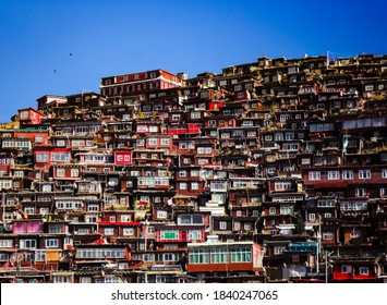 Houses for Tibetan monks and nuns at Larung Gar Buddhist academy, Sertar county in Sichuan China.