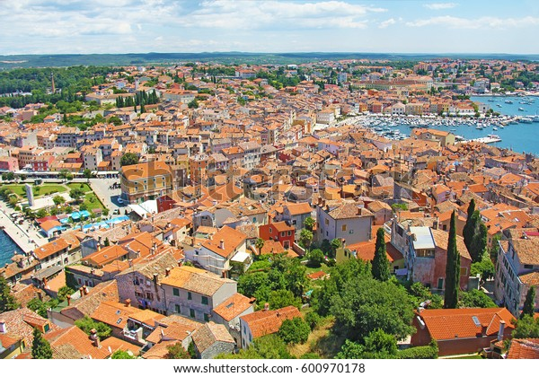 Houses with a tiled roof, top view of the old town of Rovinj, Croatia
