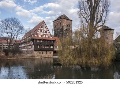 Houses and towers in the landscape on the River Pegnitz Nuremberg, Germany