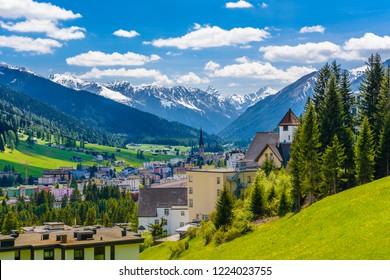 Houses in town village in Alps mountains, Davos,  Graubuenden, Switzerland