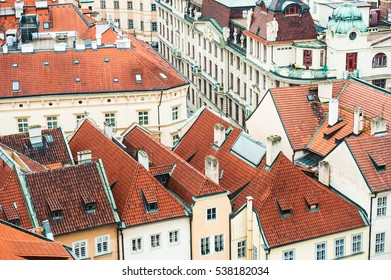 Houses with traditional red roofs in Prague, Czech Republic