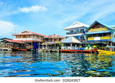Houses of typical construction on the sea in Bocas del Toro, Panama.