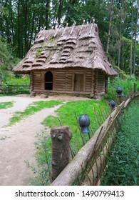 houses under straw in a park in Ukraine