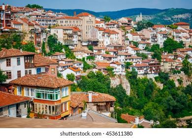 Houses in Veliko Tarnovo, a city in north central Bulgaria