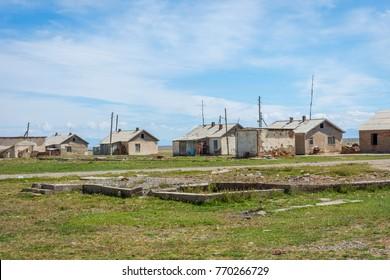 Houses in a very remote kyrgyz village Kel Suu, Kyrgyzstan