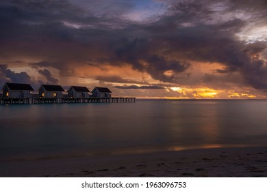 houses in the water in the blue hour
