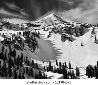 Housetop mountain and tree shadows.  Taken in Grand Teton National Park west of Jackson Hole ski area