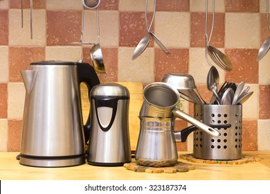 The housewares standing on the kitchen desk