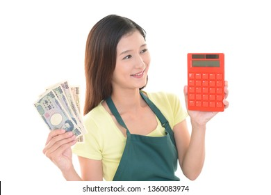 Housewife with calculator.