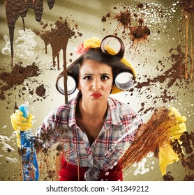 Housewife with disgusted expression cleaning dirty glass