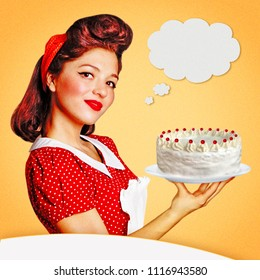 Housewife holding big cake in her hand.Retro poster background for text