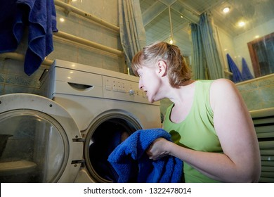 Woman Near Washing Machine Images Stock Photos Vectors Shutterstock