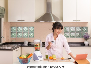 Housewife ordering stuff online store for cooking