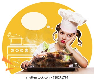 Housewife overlooked roast chicken.Funny kitchen collage for text