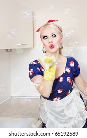 Housewife playing with soap bubbles, similar available in my portfolio