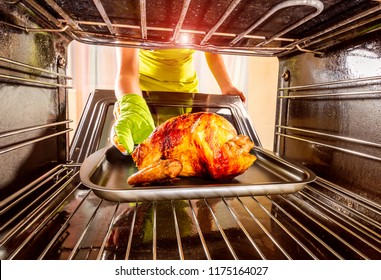 Housewife prepares roast chicken in the oven, view from the inside of the oven. Cooking in the oven. Thanksgiving Day.