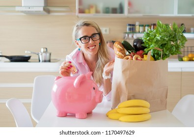 Housewife saving money by smart groceries shopping