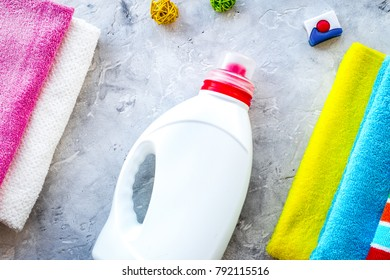 Housework. Wash clothes. Dry and liquid detergents near clean to