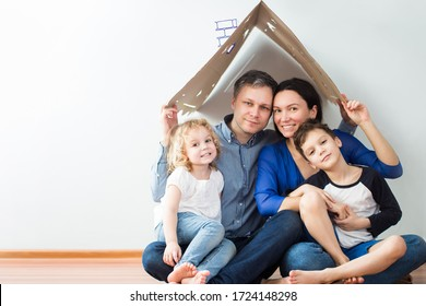 Housing concept of a young modern family. mom dad and children in a new house or apartment