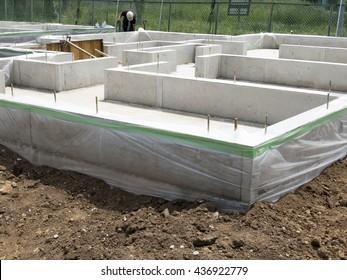 Housing construction site foundation work foundation concrete completion