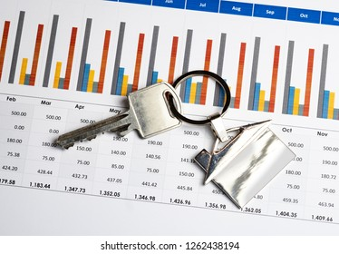 Housing cost shown as a spreadsheet and house key on a keyring