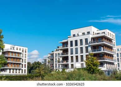 Housing development area with new apartment houses seen in Berlin, Germany