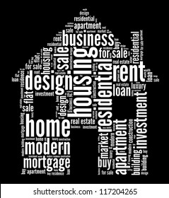 Housing info-text graphics and arrangement word clouds concept